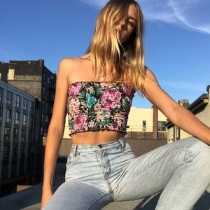 Ruched Floral Tube Top